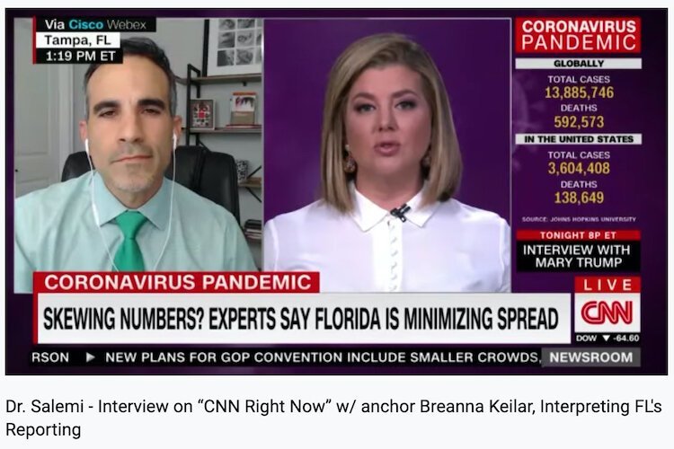 Epidemiologist Dr. Jason Salemi of USF shares Florida data in CNN interview.