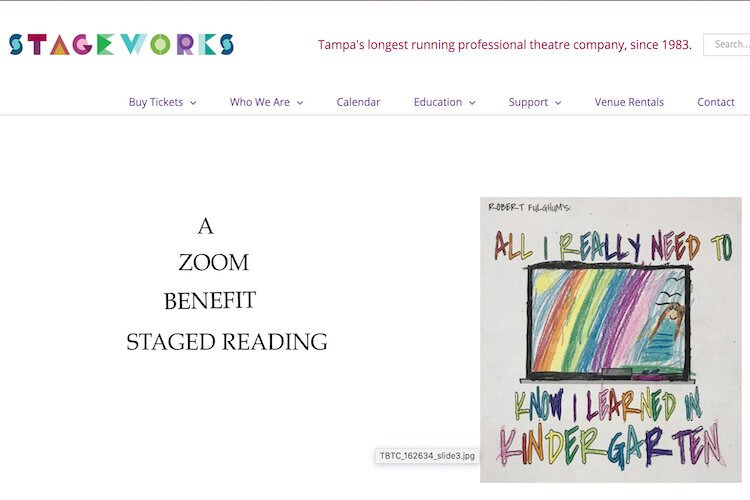 At the end of August, Stageworks will host a Stage Reading fundraiser.