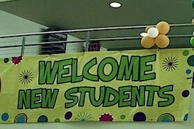 Banners like this one will greet students returning to USF campuses in Tampa, St. Pete, and Sarasota.