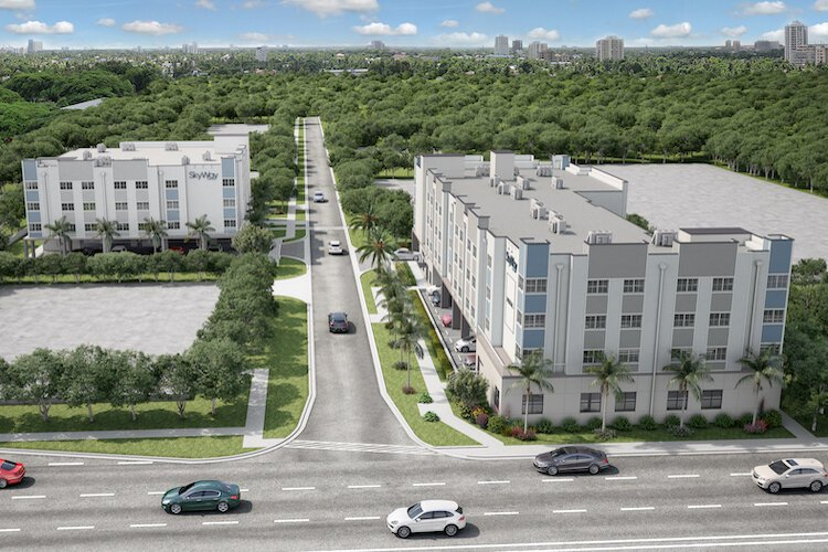The Skyway Lofts are being built in an older St. Pete neighborhood of commercial properties and single-family homes.