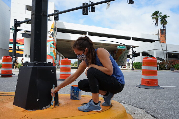 Artists lend their expertise and creativity to new street mural project in downtown Tampa.