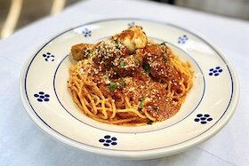 Signature dish Spaghetti Nana Maria at Casa Santo Stefano in Ybor City.
