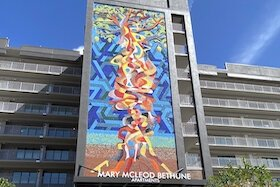 Public artwork showcases the entryway to the new Mary McLeod Bethune apartments for seniors in Tampa.