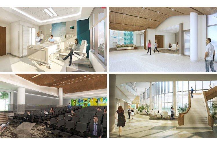 The interior concept for inside new AdventHealth tower in Uptown.