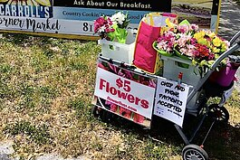 FlowerFive is a pop-up buggy offering fresh bouquets for $5 each.