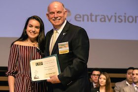 Latino Scholar Evelyn Cueves Campos and Sponsor Richard Gonzmart of the Columbia Restaurant Group.
