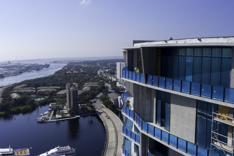 The view from atop Water Street Tampa looking toward Hillsborough Bay from downtown Tampa.