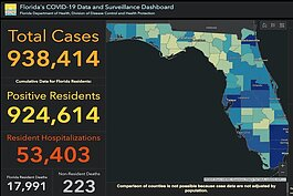 COVID-19 cases reported in Florida as of November 23, 2020.