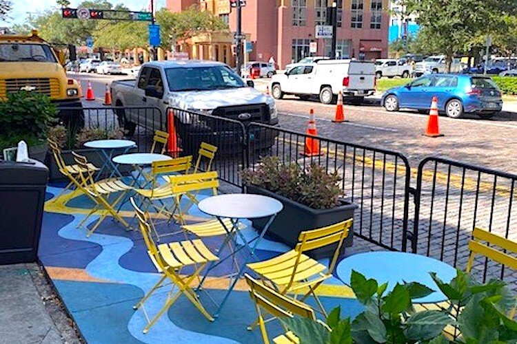 The new parklets in downtown Tampa, this one on Twiggs Street, are part of the city's Lift Up Local program.