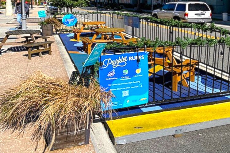 Newly created parklets in Tampa's downtown provide creative space for outdoor dining.