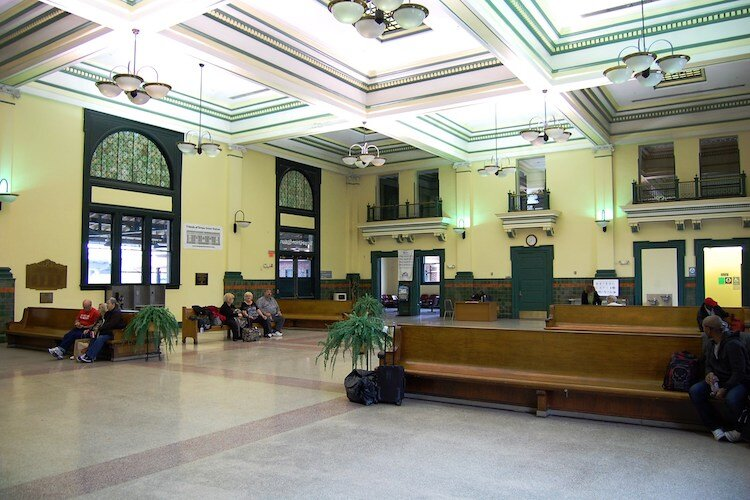 The spacious lobby area at Tampa Union Station was designed in 1912 when trains were a primary mode of transportation.