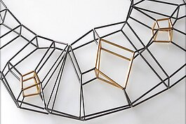 "Panama City artist Emilie Pritchard creates engineered structures such as ""Diamond"" an 11-inch long necklace fashioned from oxidized sterling silver, 14 karat-gold-filled tubes and thread."
