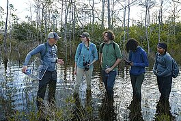Three teens -- Noah, Kiana, and Kourtez -- learn about native plants and animals in the swamp.