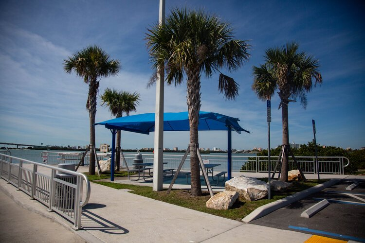 New picnic benches, railing, and landscaping are part of the revamping effort at Seminole Boat Ramp in Clearwater.