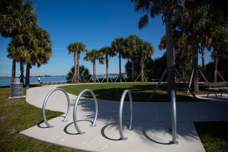 Bike racks, a walking path, and landscaping are part of the beautification efforts at the Seminole Boat Ramp in Clearwater.