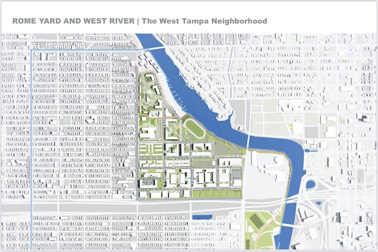 The Rome Yard property sits on 18 acres on the west bank of the Hillsborough River near Downtown Tampa.