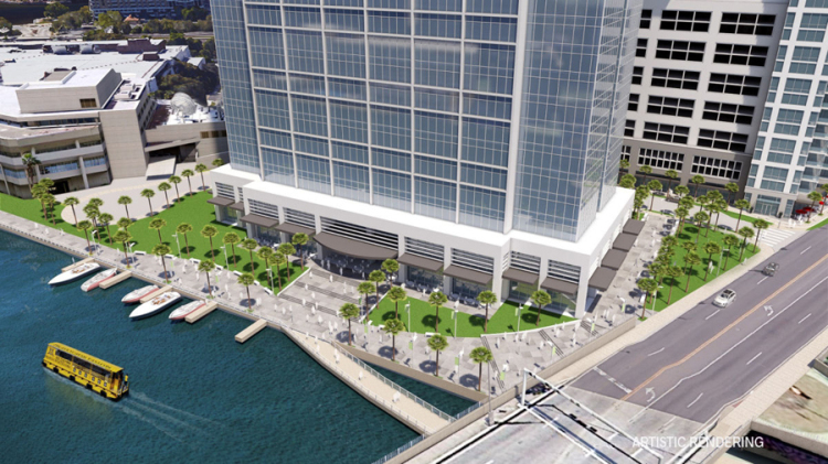 Lafayette Place would also expand the Tampa Riverwalk to the west bank of the Hillsborough River.