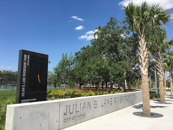 Southwest corner entrance to Julian B. Lane Park on North Boulevard.