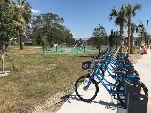 Shared bicycles await riders at new Lane Park in West Tampa.