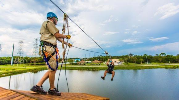 Traversing the zipline at Empower Adventures in Oldsmar