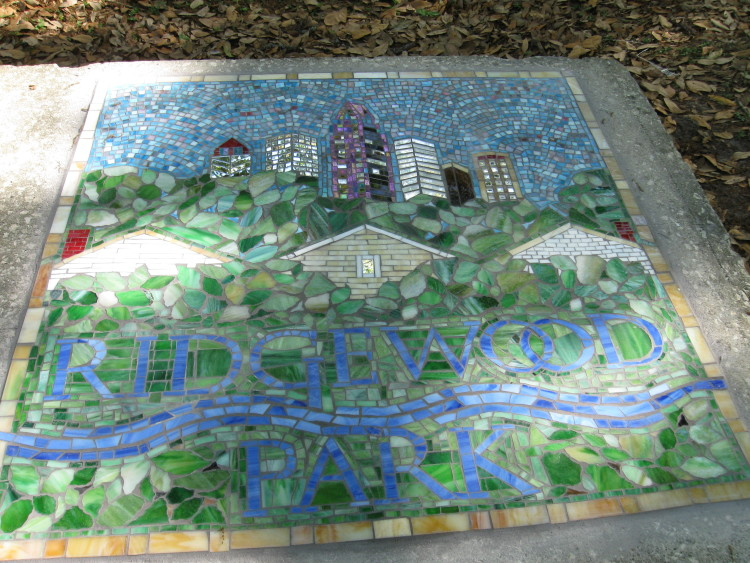 Angie Cannata created this glass mosaic of Ridgewood Park's logo.