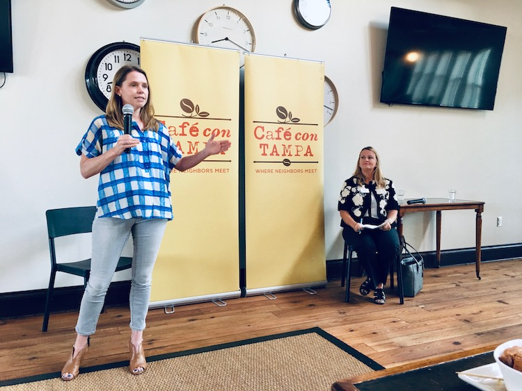 Sidewalk Stompers' President Emily Hinsdale teams with the MPO's Lisa Kramer Silva for a Café con Tampa discussion of All for Transportation's $6M sidewalk budget.