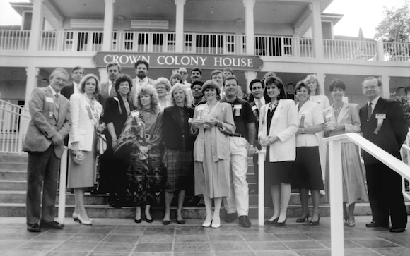 Local dignitaries gathered at the Crown Colony House restaurant (now the Serengeti Overlook Restaurant) soon after its opening at Busch Gardens in 1990