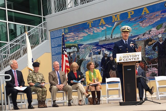 U.S. Coast Guard Adm. Karl Schultz addresses crowd.