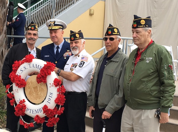 The American Legion presents a Life Ring Wreath honoring 131 souls lost aboard the USS Tampa in WWI.