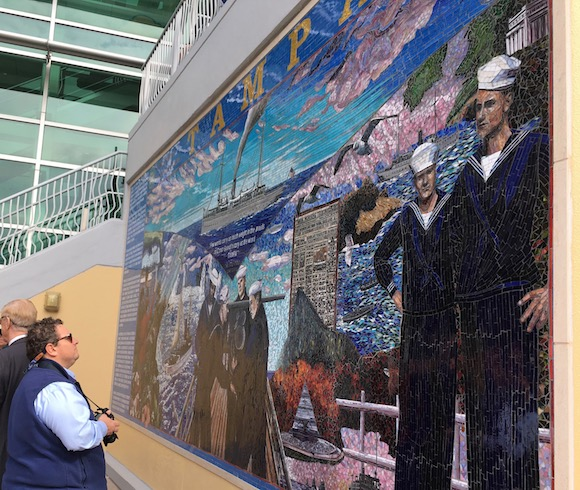 A glass mosaic mural honors USS Tampa at Tampa Bay History Center.