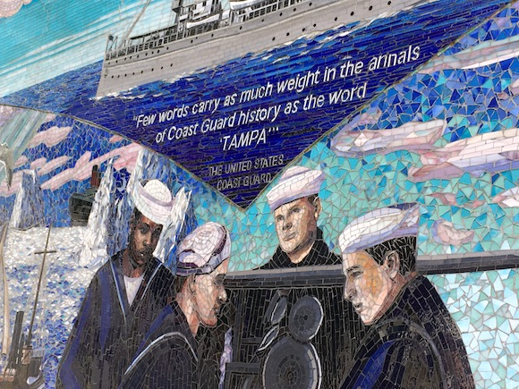 New glass mural speaks to USS Tampa's importance in history.