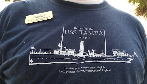 The Tampa Bay History Center sells T-shirts honoring the USS Tampa.
