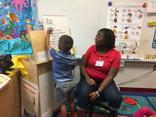 Teacher LeChelle DeVeaux-Garnes at summer VPK at Reddick Elementary.