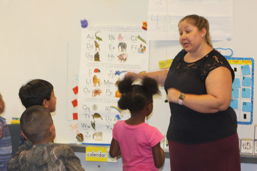 Teacher Holly Lampo at summer VPK at Reddick Elementary.